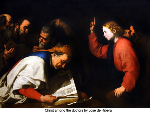 Christ among the doctors by José de Ribera