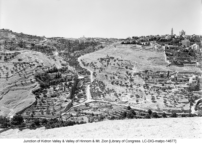 Junction of Kidron Valley & Valley of Hinnom & Mt. Zion [Library of Congress. LC-DIG-matpc-14677]