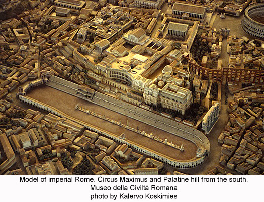 Circus Maximus and Palatine hill, imperial Rome model