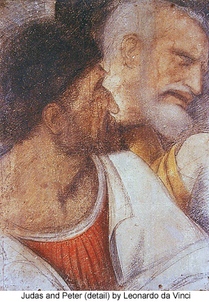 Judas and Peter (detail) by Leonardo da Vinci