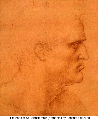 The head of St Bartholomew (Nathaniel) by Leonardo da Vinci