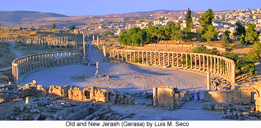 Old and New Jerash (Gerasa), photograph by Luis M. Seco