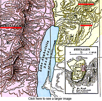 Map of Heshbon, Jerusalem and Philadelphia