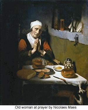 Old woman at prayer by Nicolaes Maes