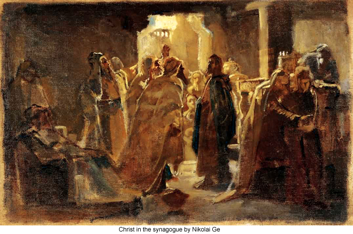 Christ in the synagogue by Nikolai Ge