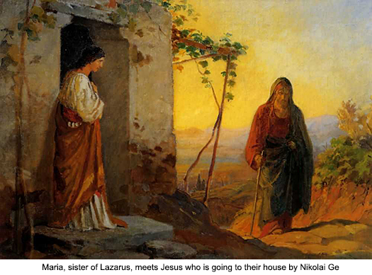 Maria, sister of Lazarus, meets Jesus who is going to their house by Nikolai Ge