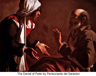 The Denial of Peter by Pensionante del Saraceni