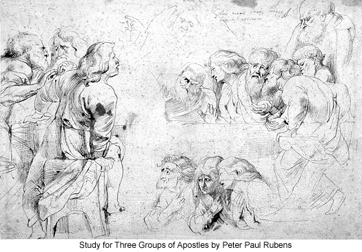 Study for Three Groups of Apostles by Peter Paul Rubens