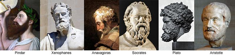 Pindar Xenophanes Anaxagoras Socrates Plato Aristotle