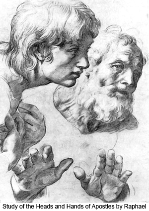 Study of the Heads and Hands of Apostles by Raphael