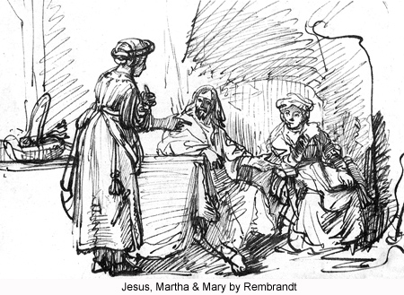 Jesus, Martha and Mary by Rembrandt