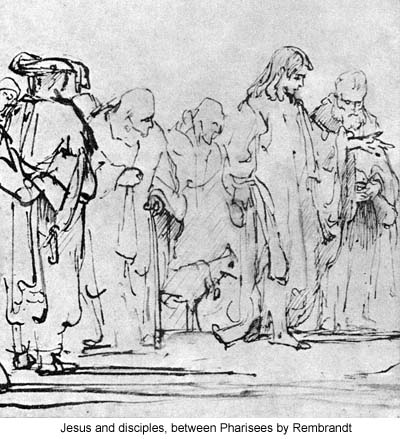 Jesus and disciples, between Pharisees by Rembrandt