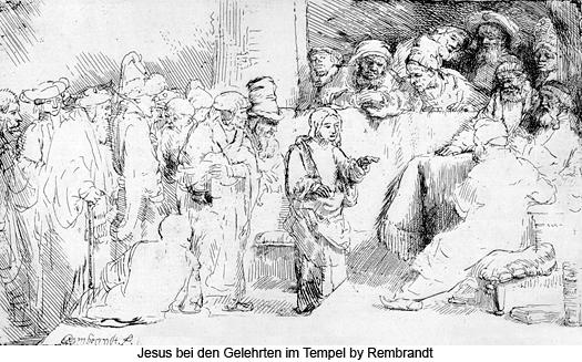 Jesus bei den Gelehrten im Tempel by Rembrandt