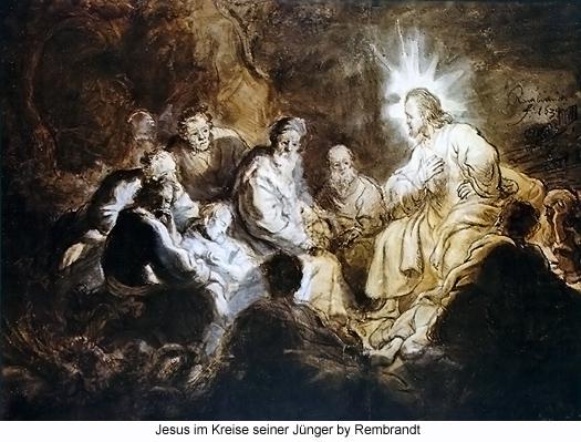 Jesus im Kreise seiner Junger by Rembrandt