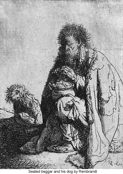 Seated beggar and his dog by Rembrandt