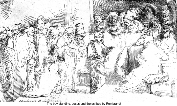 The boy standing. Jesus and the scribes by Rembrandt