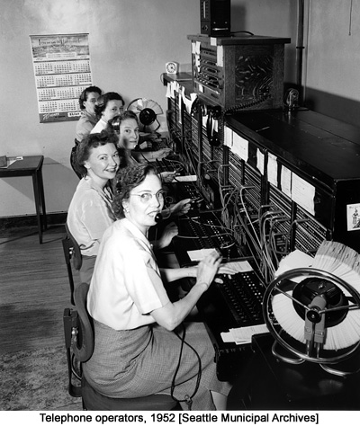 Telephone operators, 1952 [Seattle Municipal Archives]