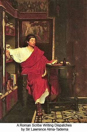 A Roman Scribe Writing Dispatches by Sir Lawrence Alma-Tadema