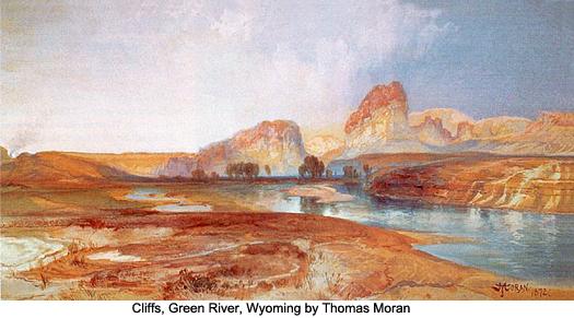 Cliffs, Green River, Wyoming by Thomas Moran