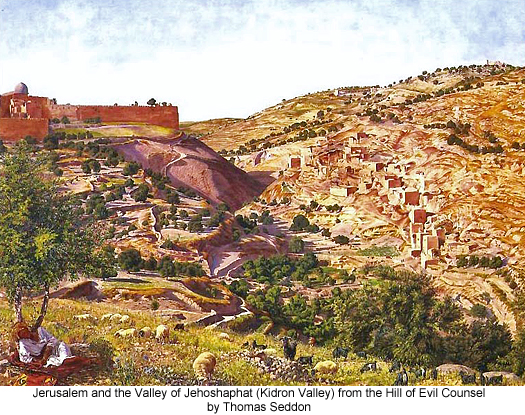 Jerusalem and the Valley of Jehoshaphat (Kidron Valley) from the Hill of Evil Counsel by Thomas Seddon