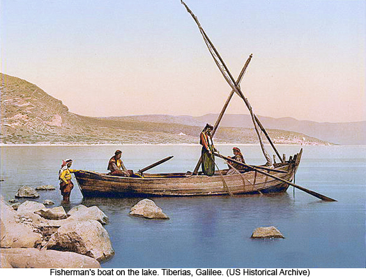 Fishermens boat on the lake. Tiberias, Galilee, photograph