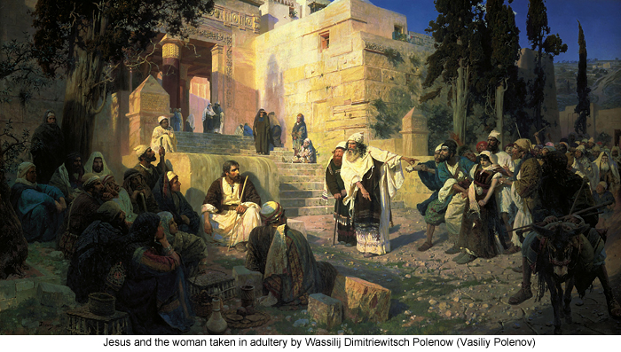 Jesus and the woman taken in adultery by Wassilij Dimitriewitsch Polenow (Vasiliy Polenov)