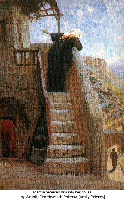 Martha received him into her house by Wassilij Dimitriewitsch Polenow [Vasily Polenov]