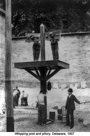 Whipping post and pillory. Delaware, 1907