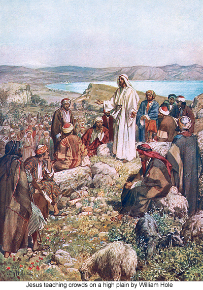 Jesus teaching crowds on a high plain by 
