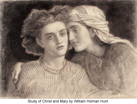 Study of Christ and Mary by William Holman Hunt