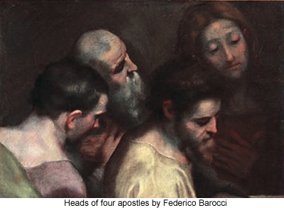 Heads of four apostles by Federico Barocci