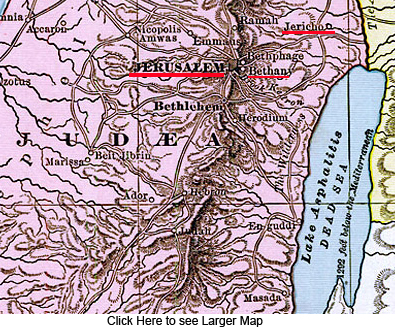 Click Here to see Larger Map - Jericho Jerusalem Bethany