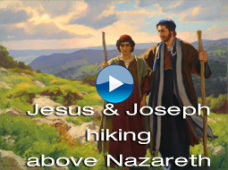 Jesus and Joseph hiking above Nazareth by Michael Malm