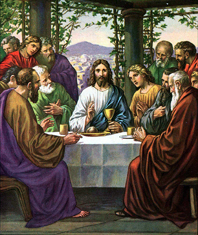 Jesus and his friends in the upper room