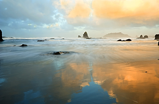 Reflections of the dawn in the Pacific.